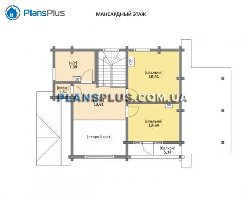 Планировка мансарды / 2го этажа M116