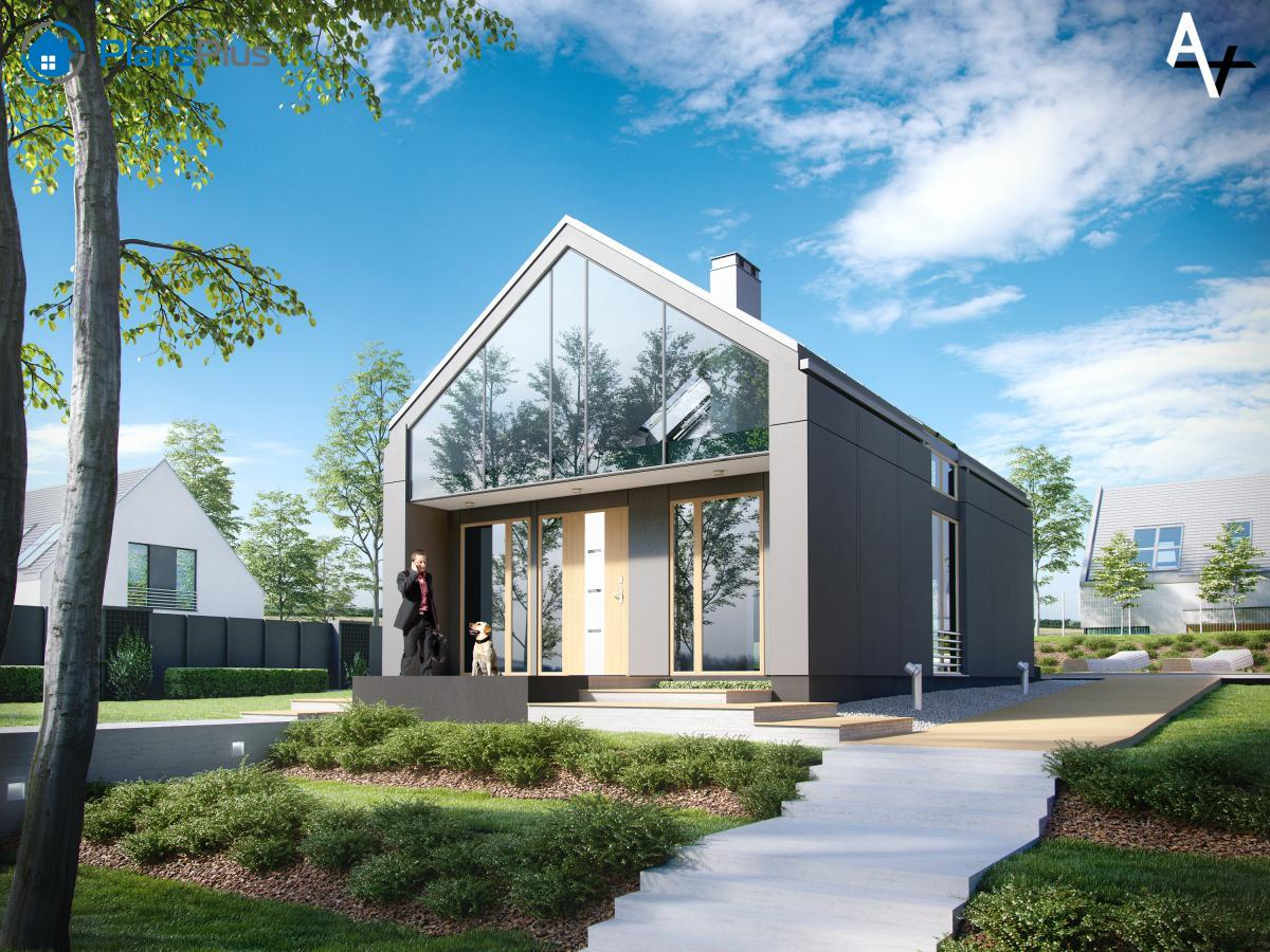 AV AV - современный мансардный дом из газобетона  фото