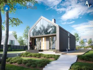 AV AV - современный мансардный дом из газобетона  фото 1