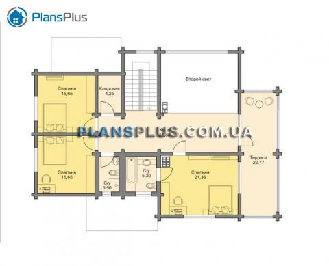 Планировка мансарды / 2го этажа M144