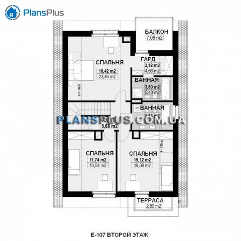 Планировка мансарды / 2го этажа E107