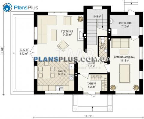 планировки первого этажа проекта Alpina