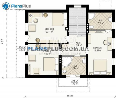 Планировка мансарды / 2го этажа Alpina