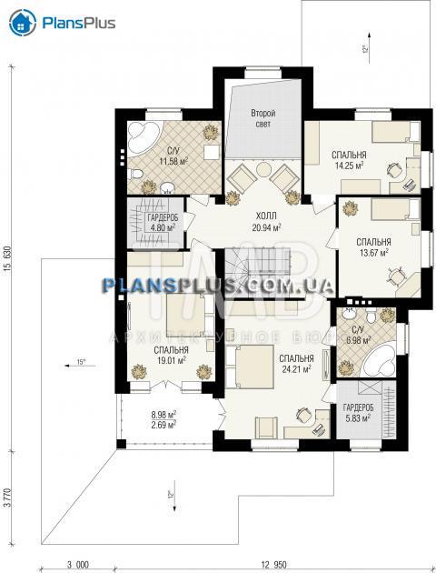 Планировка мансарды / 2го этажа Amadey