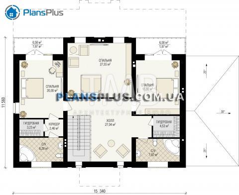 Планировка мансарды / 2го этажа Borneo