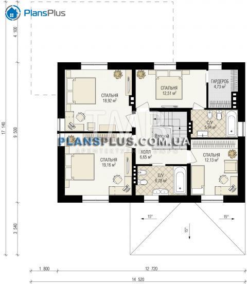 Планировка мансарды / 2го этажа Argon